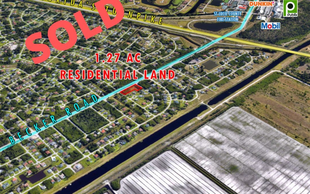 Residential Corner Lot sells for $155K in Port St. Lucie
